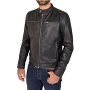 Mens Leather Jacket Biker Style Zip up Coat Bill Black Front 2