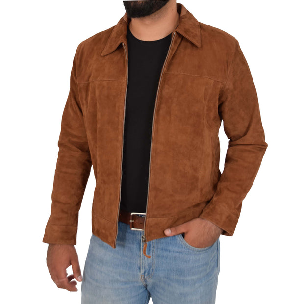 Mens Genuine Soft Suede Zip Jasper Blouson Jacket Baxter Tan Open 2