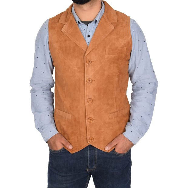 Mens Real Suede Leather Waistcoat Classic Vest Yelek Status Tan Front 1