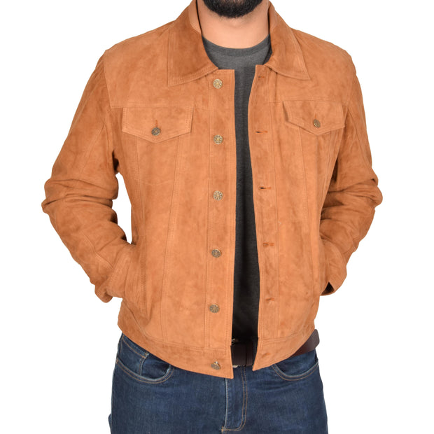 Mens Real Soft Goat Suede Trucker Denim Style Jacket Chuck Tan Open
