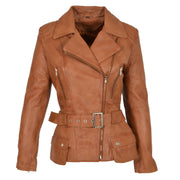 Womens Biker Leather Jacket Slim Fit Cut Hip Length Coat Coco Tan Front 1