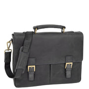 Mens REAL Leather Briefcase Vintage Look Satchel Shoulder Bag A167 Navy