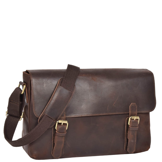 Real Leather Cross Body Messenger Shoulder Bag Luxor Brown