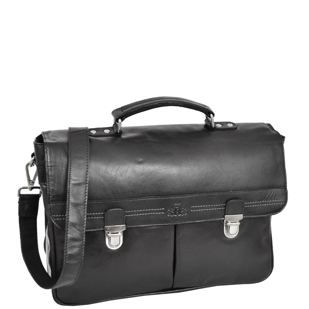 Genuine Leather Briefcase for Mens Business Office Laptop Bag Edgar Black Front With Belt