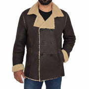 Mens Authentic Sheepskin Jacket Reefer Blazer Pea Coat Lorenzo Brown Front