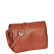 Womens BROWN Leather Shoulder Bag Classic Casual Cross Body Satchel A54 Front
