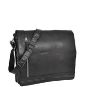 Mens Messenger Leather Bag Casual Office Students Man Bag Barney Black Front With Belt