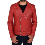 Mens Brando Biker Leather Jacket Elvis Red