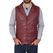 Mens Genuine Soft Leather Waistcoat Western Vest Yelek Rhys Burgundy Front 3