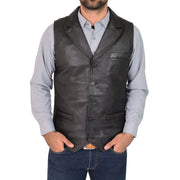 Mens Genuine Soft Leather Waistcoat Western Vest Yelek Rhys Black Front 3