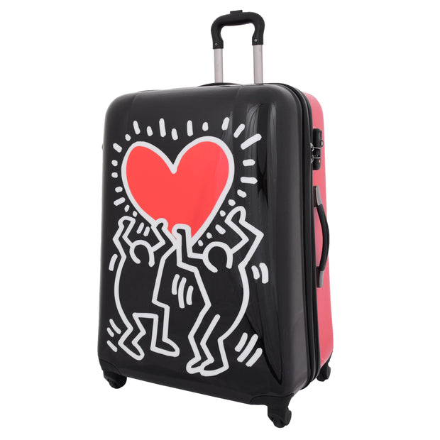Tough Hard Shell Suitcase Big Heart 4 Wheel Luggage TSA Lock Bags Large 1