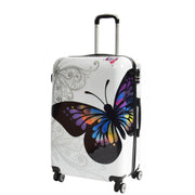 4 Wheel Luggage Hard Shell Lightweight ABS Trolley Bag White Butterfly Large 1