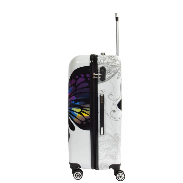 4 Wheel Luggage Hard Shell Lightweight ABS Trolley Bag White Butterfly Large 2