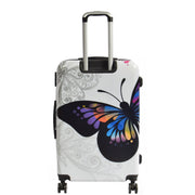 4 Wheel Luggage Hard Shell Lightweight ABS Trolley Bag White Butterfly Large 3