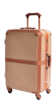 Medium 4 Wheels Classic Trunk Style Lightweight Suitcase ASB603 Brown