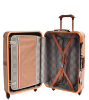 Medium 4 Wheels Classic Trunk Style Lightweight Suitcase ASB603 Brown Open