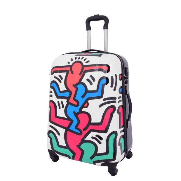 Robust Hard Shell Suitcase Stack Up Man Print 4 Wheel Luggage Bags Medium 1