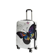 4 Wheel Luggage Hard Shell Lightweight ABS Trolley Bag White Butterfly Medium 1