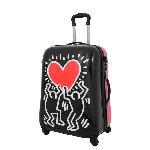 Tough Hard Shell Suitcase Big Heart 4 Wheel Luggage TSA Lock Bags Medium 1