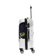 4 Wheel Luggage Hard Shell Lightweight ABS Trolley Bag White Butterfly Medium 2