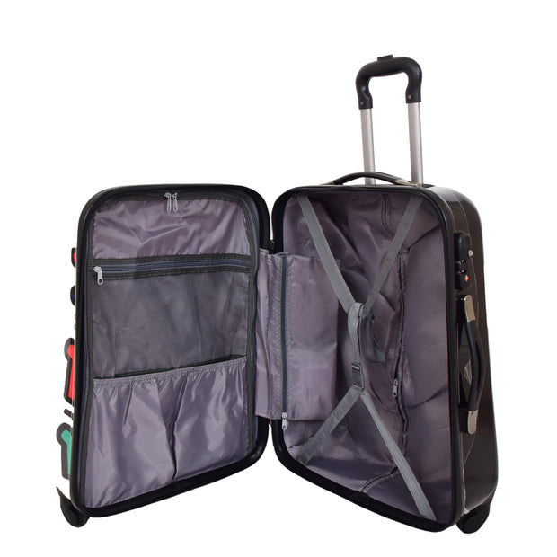 Robust Hard Shell Suitcase Stack Up Man Print 4 Wheel Luggage Bags Medium 5
