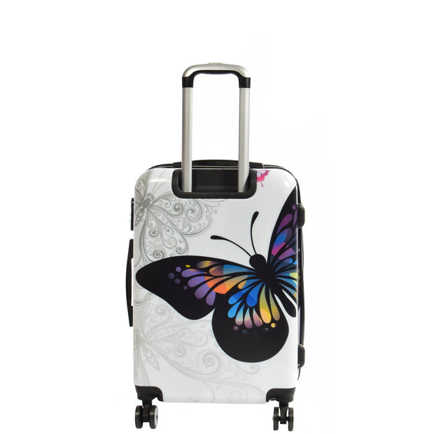 4 Wheel Luggage Hard Shell Lightweight ABS Trolley Bag White Butterfly Medium 3
