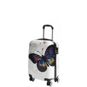 4 Wheel Luggage Hard Shell Lightweight ABS Trolley Bag White Butterfly Small 1