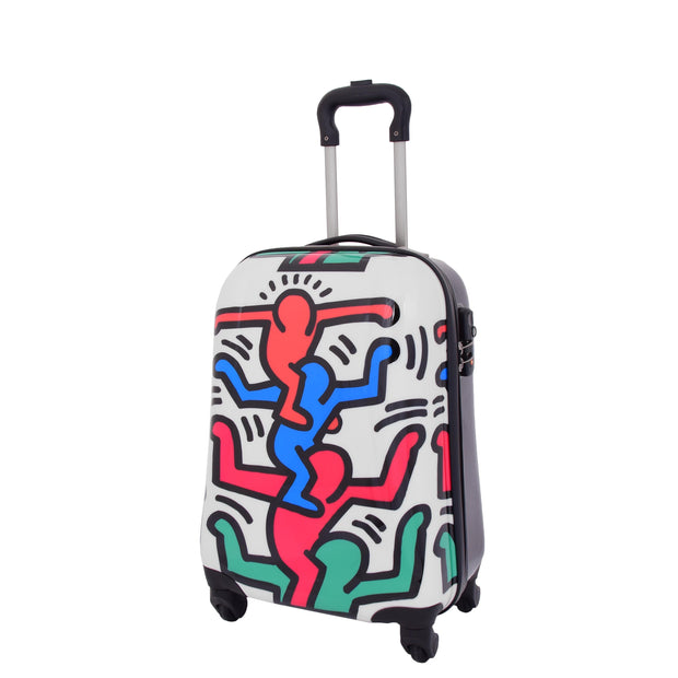Robust Hard Shell Suitcase Stack Up Man Print 4 Wheel Luggage Bags Small 1