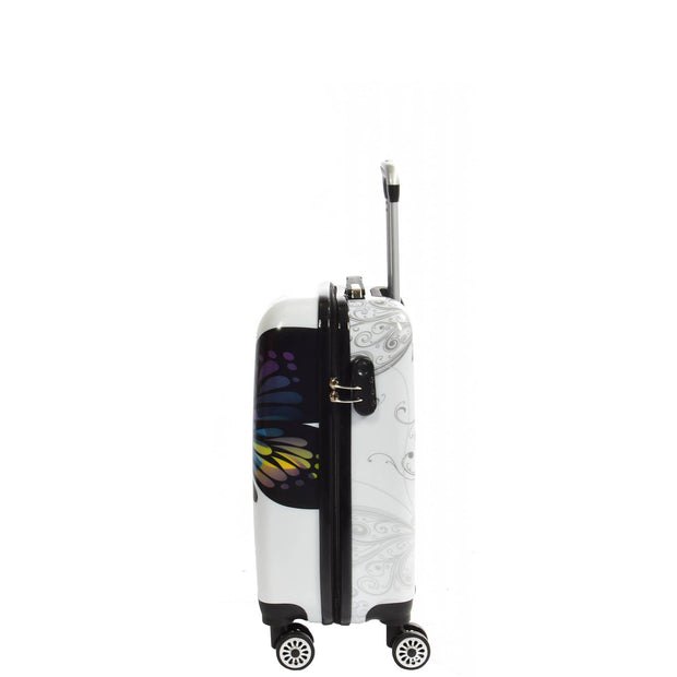 4 Wheel Luggage Hard Shell Lightweight ABS Trolley Bag White Butterfly Small 2
