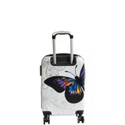 4 Wheel Luggage Hard Shell Lightweight ABS Trolley Bag White Butterfly Small 3