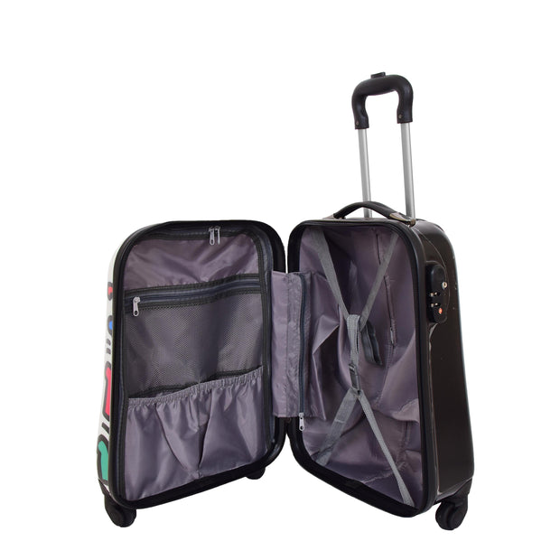 Robust Hard Shell Suitcase Stack Up Man Print 4 Wheel Luggage Bags Small 5