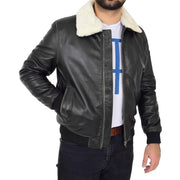 Mens Vintage Bomber Leather Jacket Sheepskin Collar Varsity Gunner Rub Off Open side
