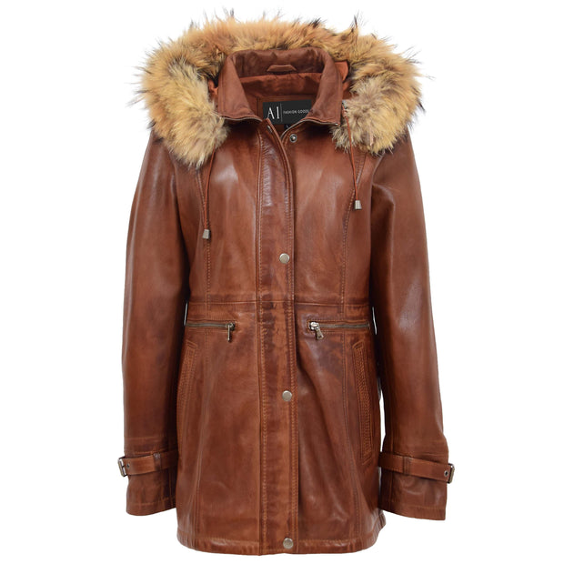 Ladies Genuine Cognac Leather Duffle Coat Removable Hood Parka Jacket Patty