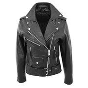 Womens Cowhide Biker Leather Jacket Brando Style Coat Helen Black
