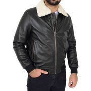 Mens Vintage Bomber Leather Jacket Sheepskin Collar Varsity Gunner Rub Off