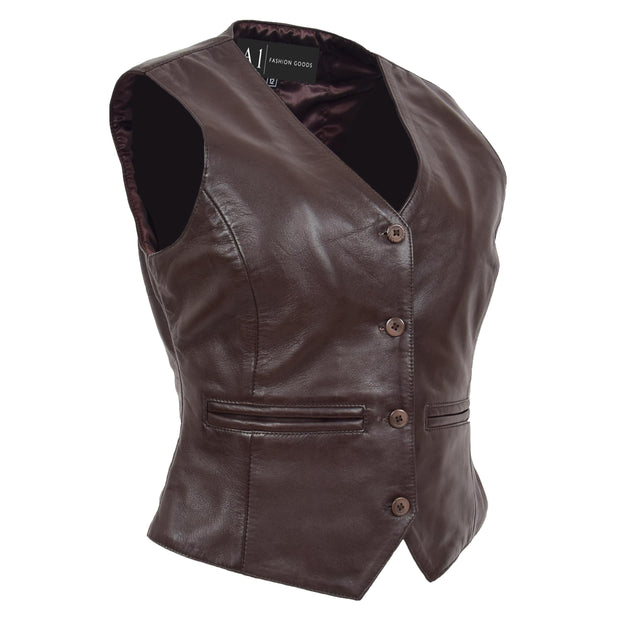 Womens Soft Leather Waistcoat Slim Fit Vest Classic Gilet Katy Brown Front
