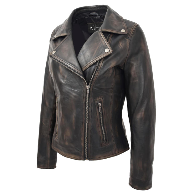 Womens Fitted Real Vintage Rub Off Leather Designer Biker Jacket Myla