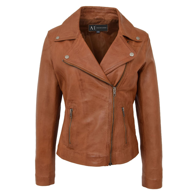 Womens Genuine Leather Biker Jacket Designer Fitted Coat Myla Tan