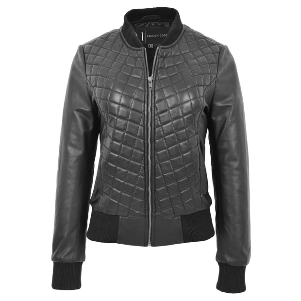 Womens Real Leather Bomber Jacket Black Diamond Quilted Fitted Varsity Storm
