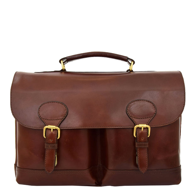 Luxurious Leather Briefcase Classy Business Laptop Bag Buddy Brown Front