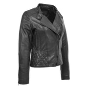 Trendy Black Leather Biker Jacket For Women Quilted Fitted Band Collar Penny
