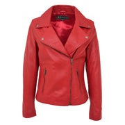 Womens Genuine Leather Biker Jacket Designer Fitted Coat Myla Red