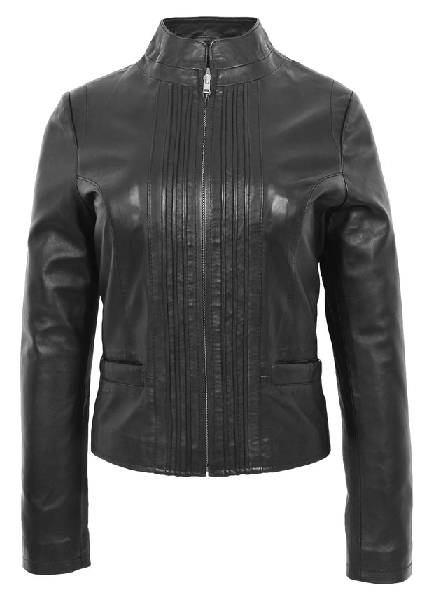 Womens Soft Black Leather Biker Jacket Stand-Up Band Collar Bliss