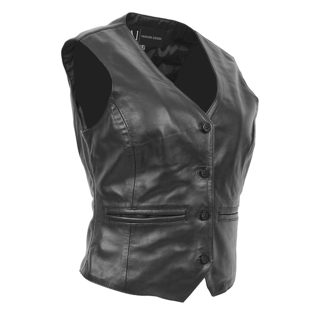 Womens Soft Leather Waistcoat Slim Fit Vest Classic Gilet Katy Black Front