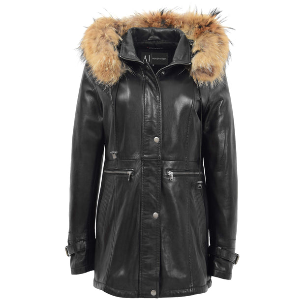 Ladies Genuine Black Leather Duffle Coat Removable Hood Parka Jacket Patty