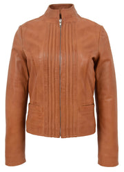 Womens Soft Cognac Leather Biker Jacket Stand-Up Band Collar Bliss
