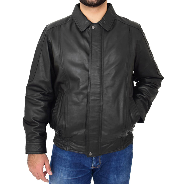 Gents Classic Blouson Leather Jacket Albert Black