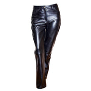 Womens Soft Black Leather Trouser Slim Fit Tapered Jeans Lyla