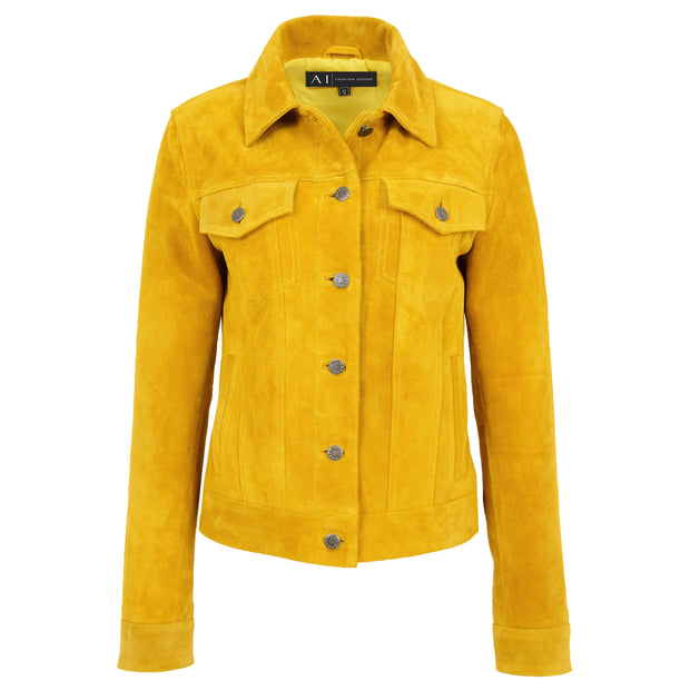 Womens Yellow  Suede Trucker Jacket American Western Denim Biker Style Marisa