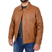 Gents Classic Blouson Leather Jacket Albert Tan